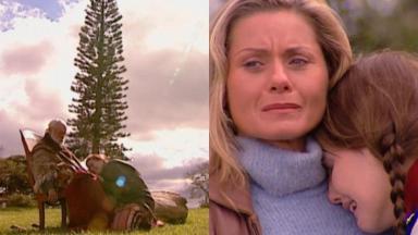 Fernando Torres e Lilia Cabral em cena da morte de Aléssio na novela Laços de Família, em reprise na Globo