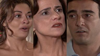Juliana Paes, Marieta Severo e Alexandre Borges em cena da novela Laços de Família, em reprise na Globo