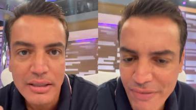 Leo Dias em live no estúdio do Hora do Faro