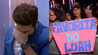 Foto montagem de Luan Santana chorando e fã com cartaz