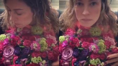 Luana Piovani com buquê de flores