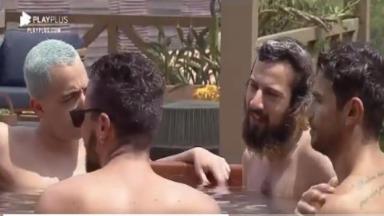 No ofurô, Cartolouco fala para os peões Lucas Maciel, Lipe Ribeiro e Mariano, que ele não gosta de piscina porque precisa tomar banho depois