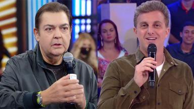 Fausto Silva (à esquerda) e Luciano Huck (à direita) em montagem do NaTelinha