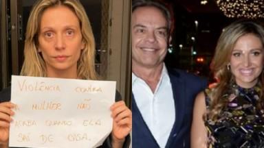 """Luisa Mell segurando um papel escrito: """"Violência contra a mulher não acaba quando ela sai de casa"""" e ao lado do ex-marido Gilberto Zaborowsky"""