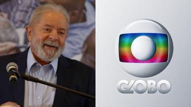 Lula em coletiva de imprensa (à esquerda) e logotipo da Globo (à direita) em foto montagem
