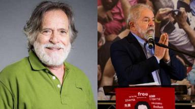 José de Abreu (à esquerda) e Lula (à direita) em foto montagem