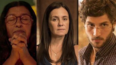 Os personagens Lurdes (Regina Casé) , Thelma (Adriana Esteves) e Domênico (Chay Suede) em montagem do NaTelinha