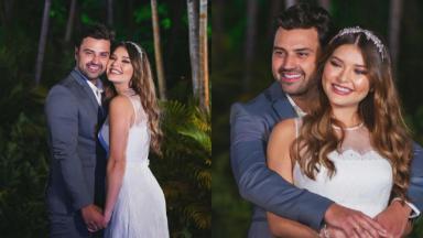 Lyandra Costa, filha do cantor Leandro, posa abraçada com o noivo, Lucas Santos