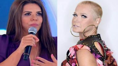 Montagem da Mara Maravilha segurando microfone e Xuxa posando para foto