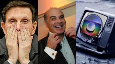 Marcelo Crivella, Marcelo de Carvalho e logotipo da Globo numa tela de TV quebrada
