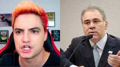 Felipe Neto (à esquerda) e Marcelo Queiroga (à direita) em foto montagem