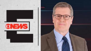 Foto montagem do logotipo da cobertura das eleições da GloboNews e de Márcio Gomes