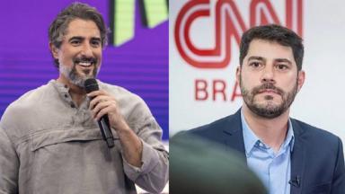 Marcos Mion (à esquerda) e Evaristo Costa (à direita) em foto montagem