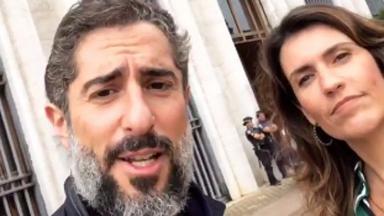 Marcos Mion e Cíntia Araium