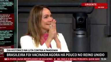 Maria Beltrão no Estúdio i chorando