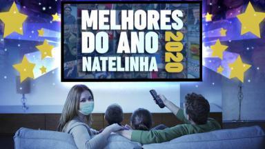 Montagem do NaTelinha com uma família sentada no sofá assistindo TV