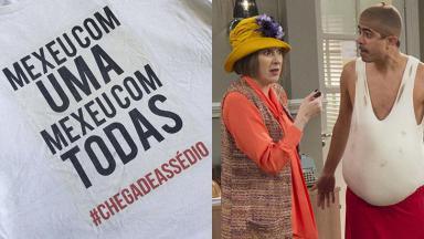 Camiseta do grupo Mexeu com Uma Mexeu com Todas; à direita, Dani Calabresa e Marcius Melhem na Escolinha do Professor Raimundo