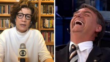 Miriam Leitão na Globo e Bolsonaro gargalhando