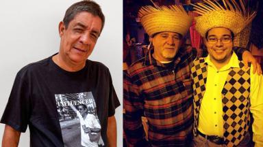 Zeca Pagodinho posado para foto; Louiz avô posado com o neto, Louiz