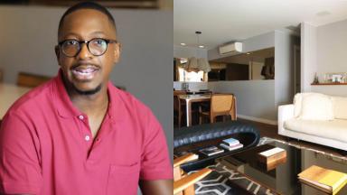 Mumuzinho (à esquerda) e a sala do seu apartamento (à direita) em foto montagem