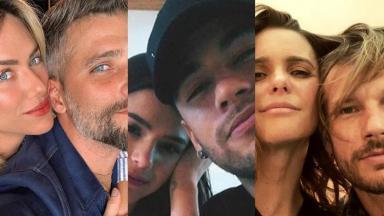 Os casais: Bruno Gagliasso e Giovanna Ewbank, Neymar e Bruna Marquezine, e Rodrigo Hilbert e Fernanda Lima