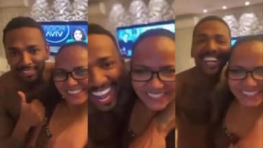 Nego do Borel e a mãe, Roseli Viana, em vídeo postado após expulsão do cantor de A Fazenda 2021