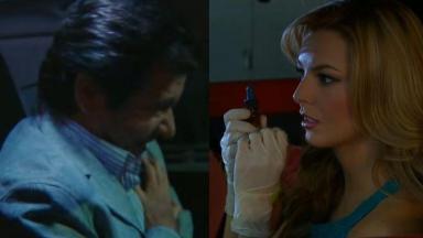 Nelson com a mão no peito e Kendra de luvas com um frasco nas mãos