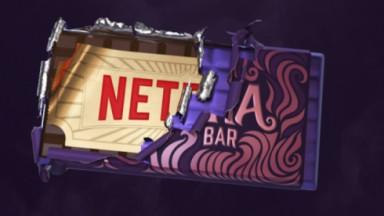 Logo Netflix embalada em ticket dourado