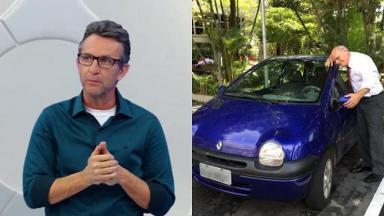Neto no palco de Os Donos da Bola (à esquerda) e Ricardo Boechat com seu carro (à direita) em foto montagem