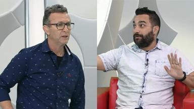 Neto xinga o repórter Marco Bello no programa Os Donos da Bola