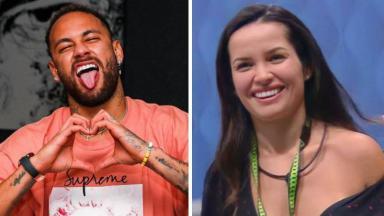 Neymar fazendo coraçãozinho e Juliette sorrindo