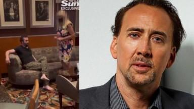 Nicolas Cage em restaurante chique, com funcionário pedindo para ele se retirar; Nicolas Cage posado para foto