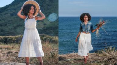 Montagem de fotos da atriz Alana Cabral com um vestido longo segurando um chapéu de palha e com flores na mão com o mar ao fundo