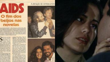 Tela dividida com uma reportagem dos anos 80 falando sobre a AIDS e com um par romântico de novela