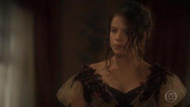 Foto de cena em que Domitila descobre que Benedita está grávida