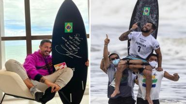 Montagem do Carlinhos Maia com Ítalo Ferreira seguran a prancha de surfe preta