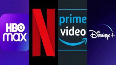 Logo da HBO Max, Netflix, Amazon Prime Video e Disney+
