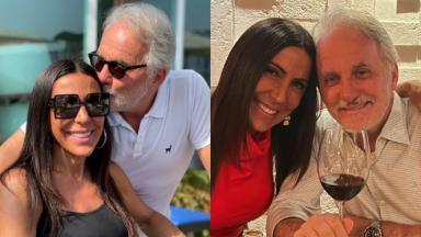 Otávio Mesquita beija a cabeça da namorada Ana Ruas e os dois aparecem sorridentes enquanto o apresentador segura uma taça de vinho