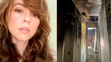 Selfio de Paolla Oliveira; Cômodo destruído pelo fogo