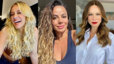 Montagem de Paolla Oliveira sorridente, Viviane Araújo com uma camiseta decotada e Mariana Ximenes, de cabelos soltos e maquiada