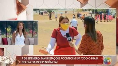 Patrícia Abravanel ao vivo no SBT ouvindo Bolsonaro genocida