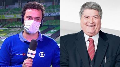 O repórter Pedro Rocha, da Globo, e o apresentador José Luiz Datena, da Band