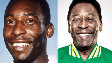Em montagem, o jogador Pelé aos 18 anos ( à esquerda) e atualmente (à direita)
