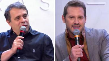 Fernando Pelégio e Dony De Nuccio em coletiva de imprensa segurando o microfone
