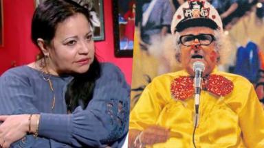 A cantora Perla e o apresentador Chacrinha