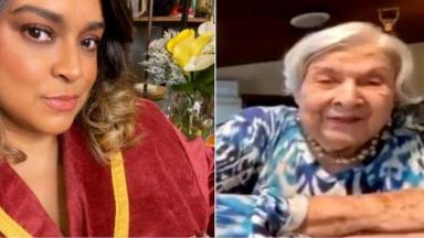 Preta Gil de roupão; avó de preta Gil fazendo transmissão ao vivo