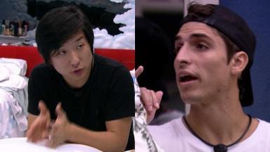 Pyong Lee e Felipe Prior durante o reality show BBB20