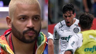 Projota (à esquerda) e Gustavo Gomez do Palmeiras (à direita) em foto montagem