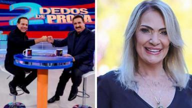 João Dória e Ratinho em programa e Lucimara Parisi sorrindo