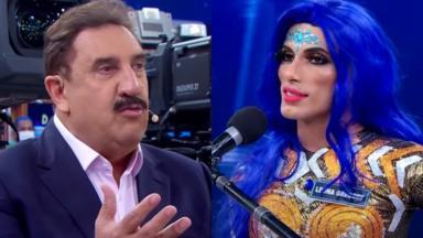 Ratinho faz perguntas à drag queen Leona Gregory em seu programa no SBT